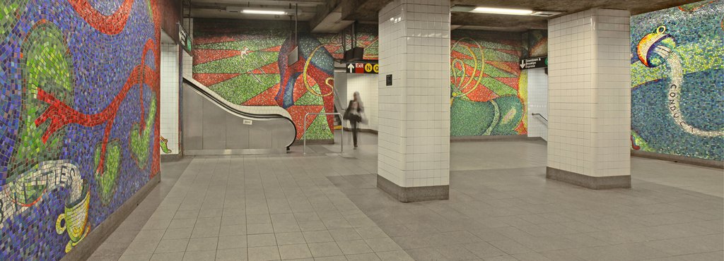 "Glass Mosaic Mural by Elizabeth Murray at 59th St Subway Station. Title: ""Blooming"" 1996"